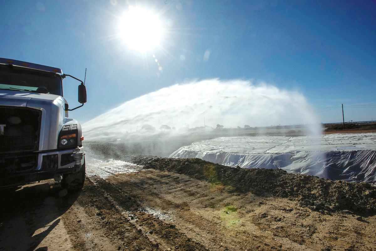 truck watering soil