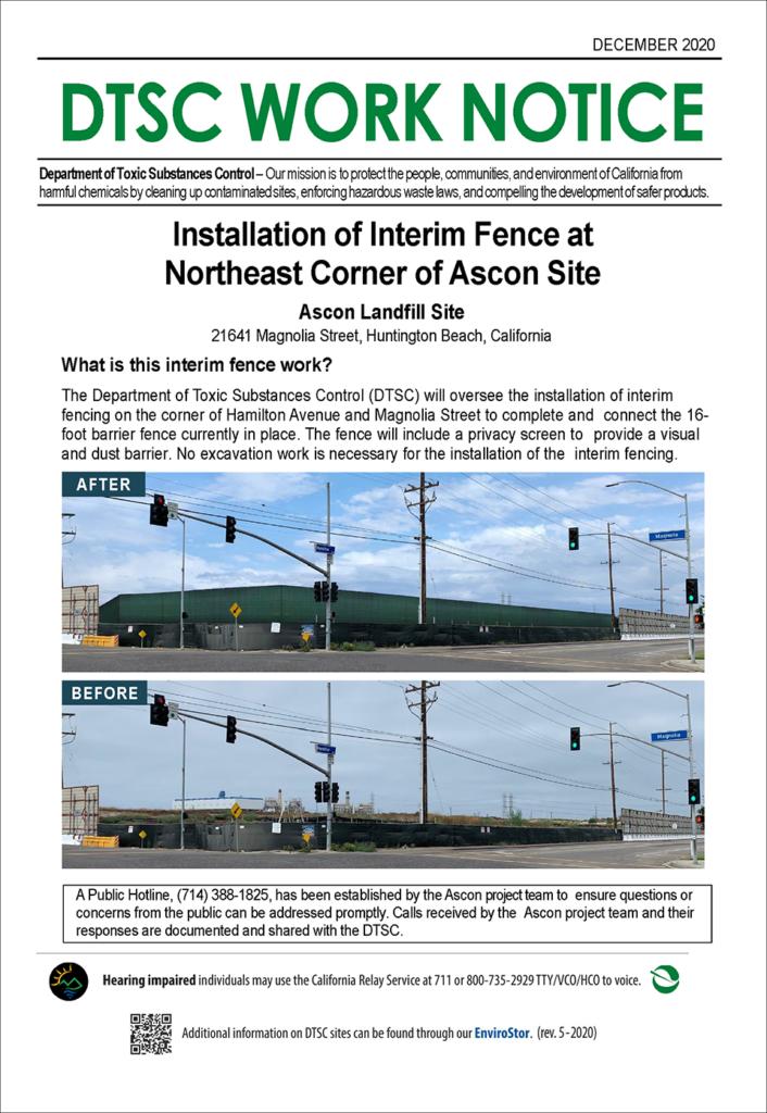 DTSC Work Notice - Installation of Interim Fence at Northeast Corner of Ascon