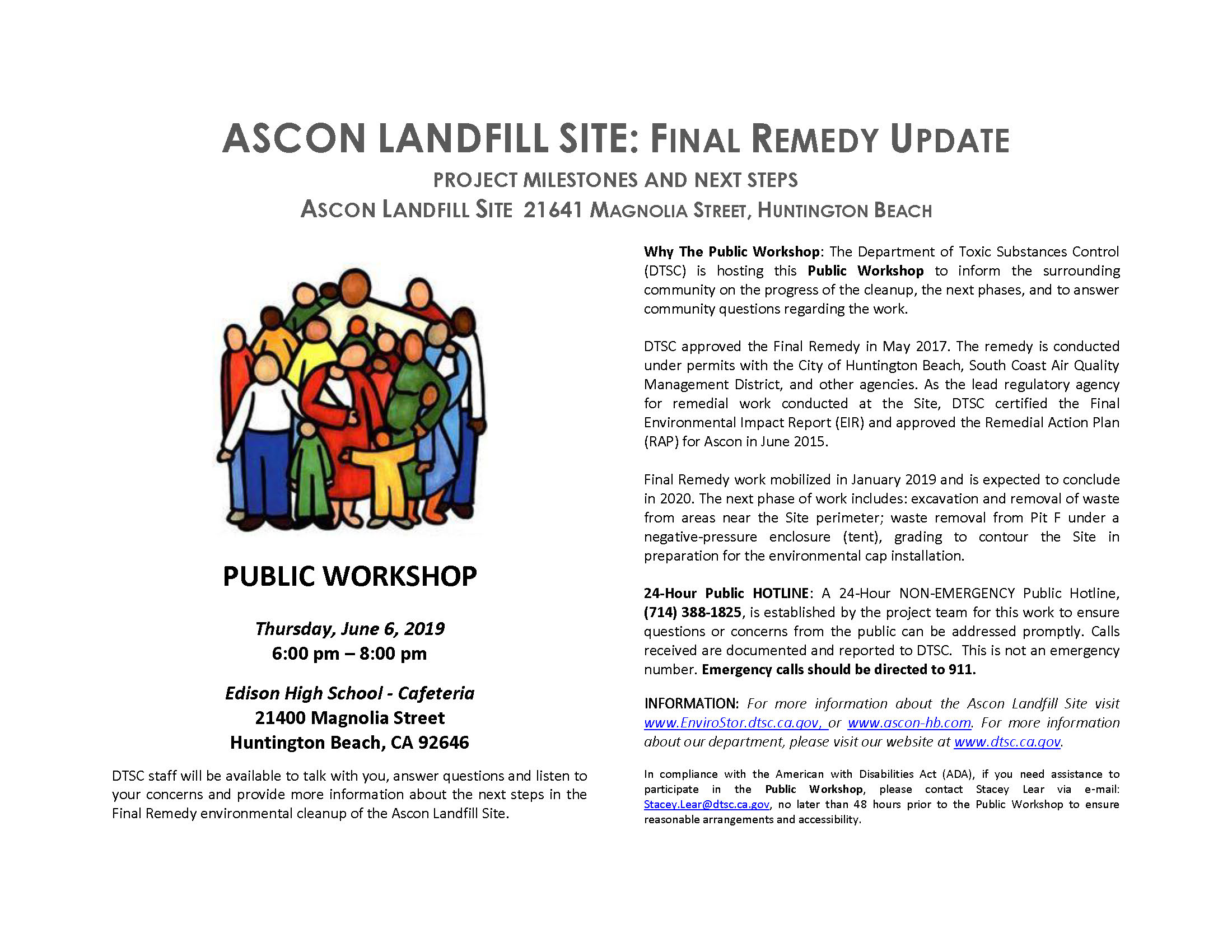 Ascon Landfill Site DTSC Public Workshop June 6, 2019