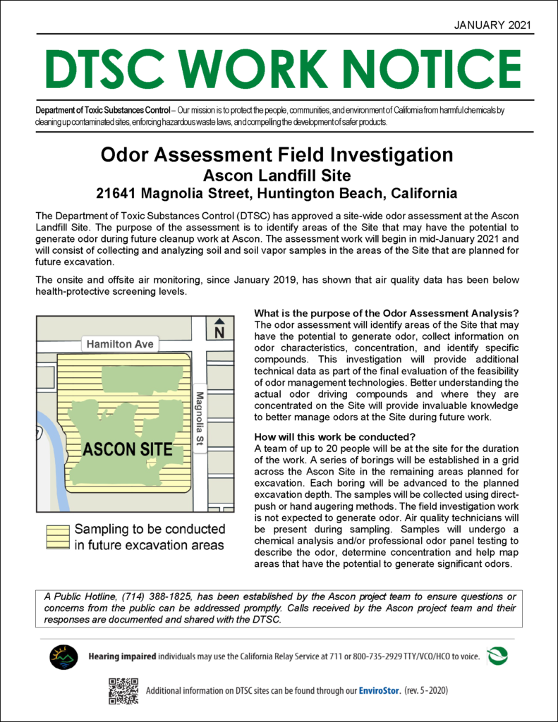 Ascon Landfill Work Notice Odor Assessment Field Investigation