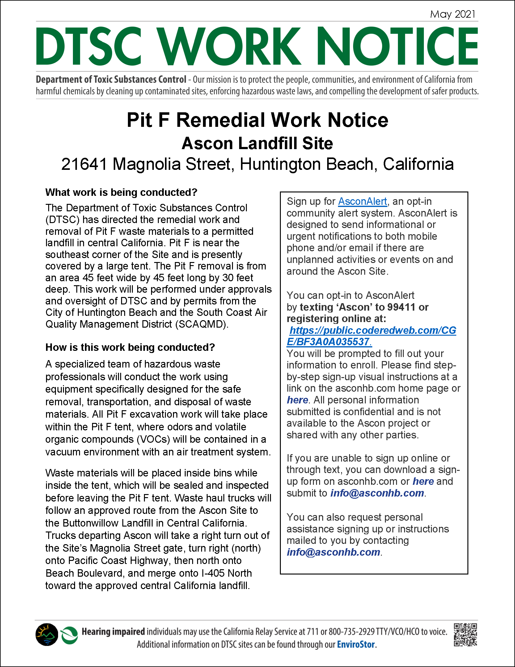 Ascon Landfill Pit F Remedial Work Notice