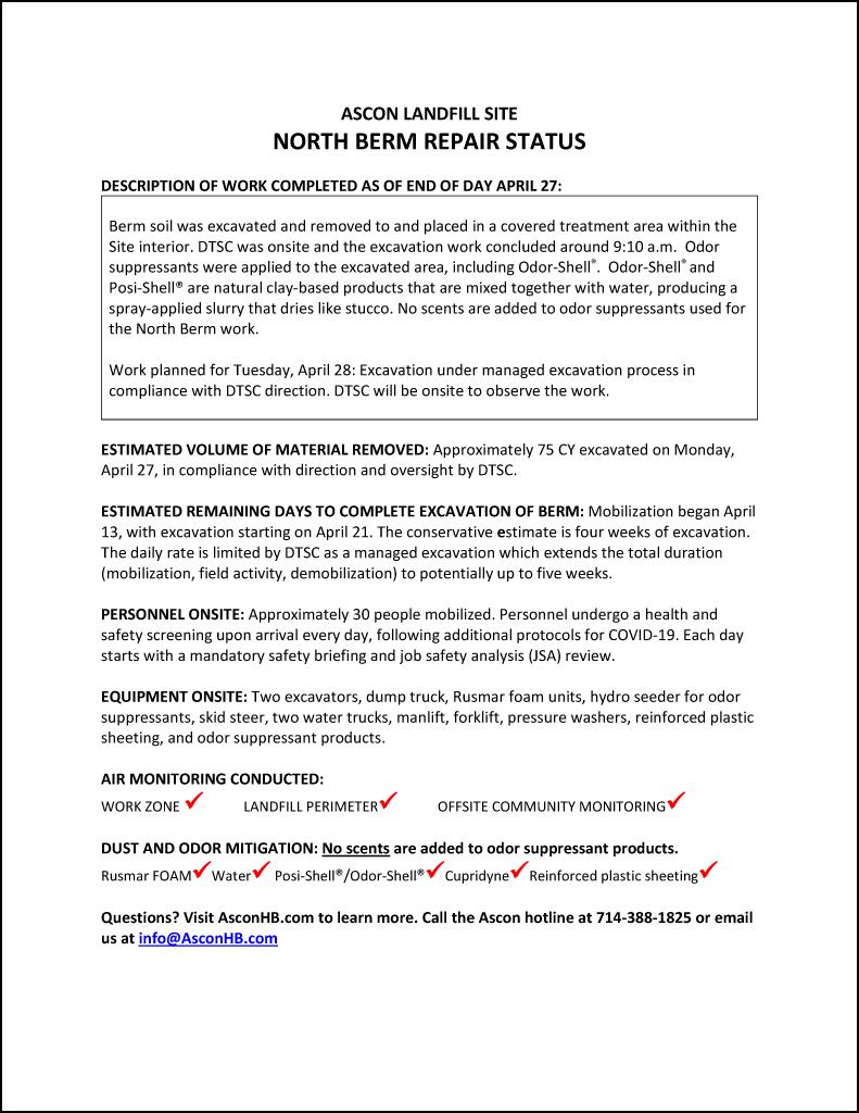 North Berm repair status update end of day April 27