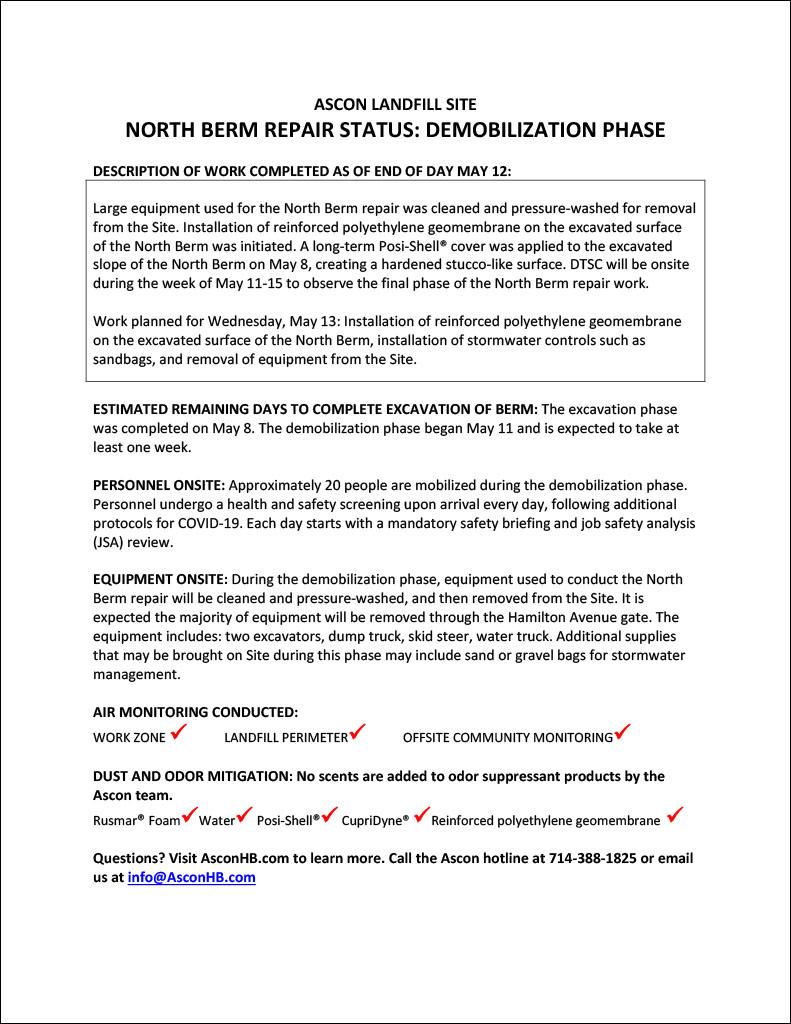 North Berm repair status update end of day May 12