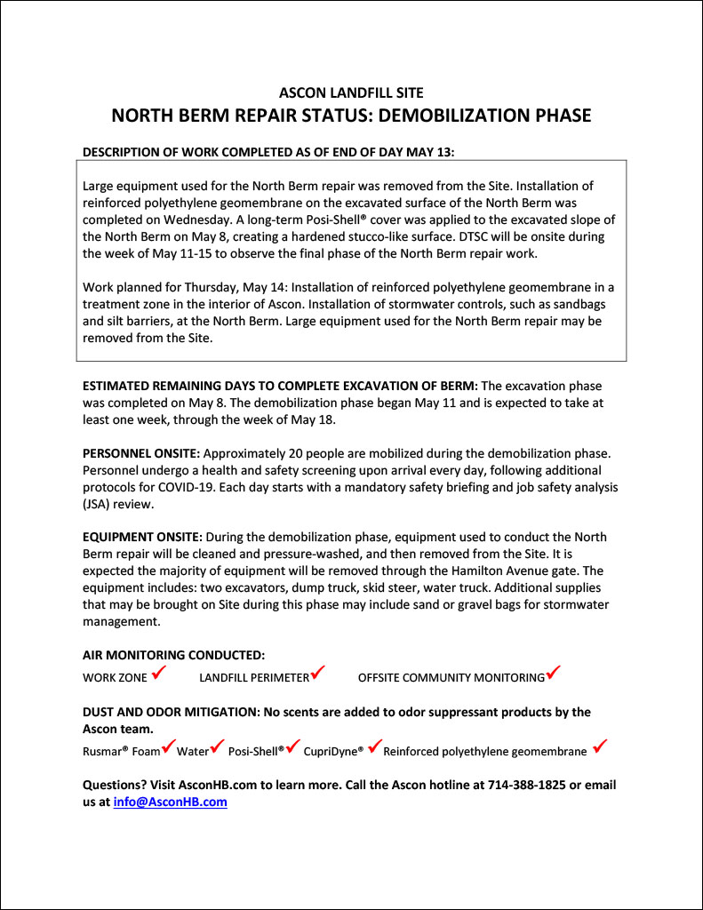North Berm repair status update end of day May 13