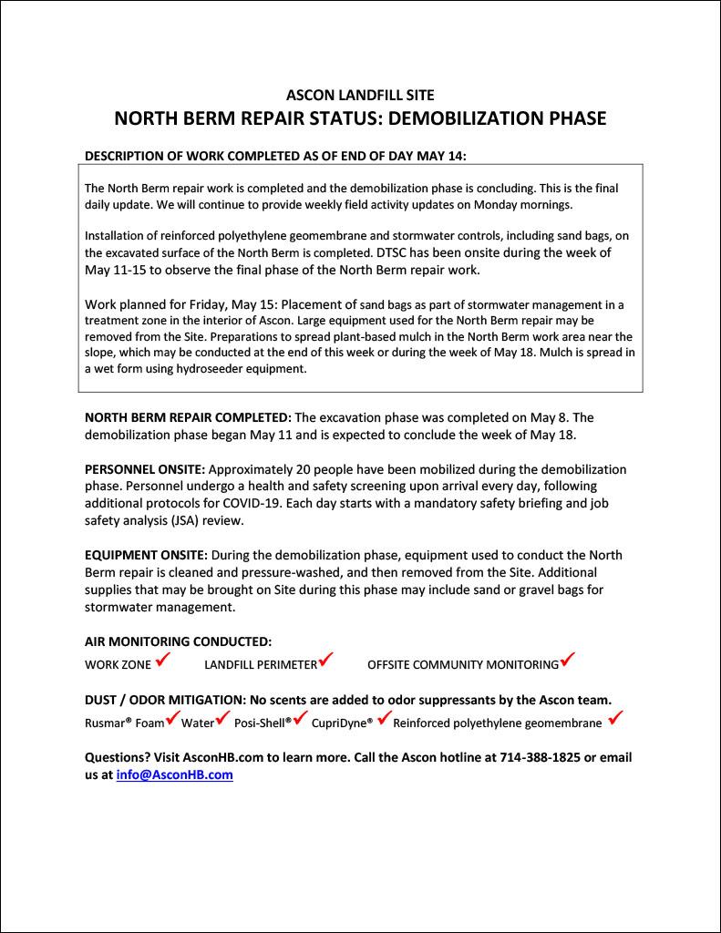 North Berm repair status update end of day May 14