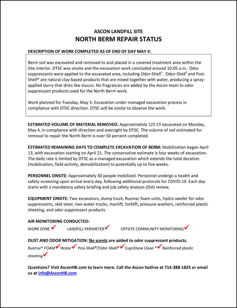 North Berm repair status update end of day May 4