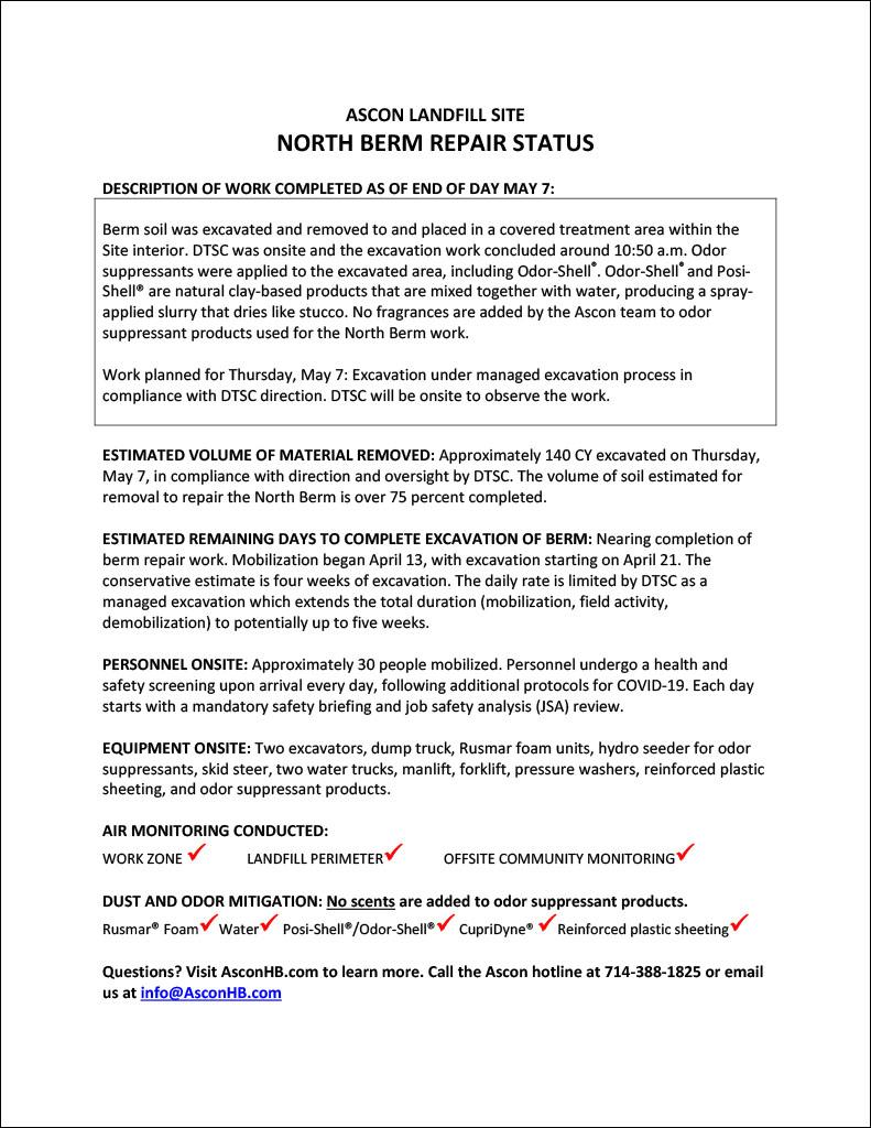 North Berm repair status update end of day May 7