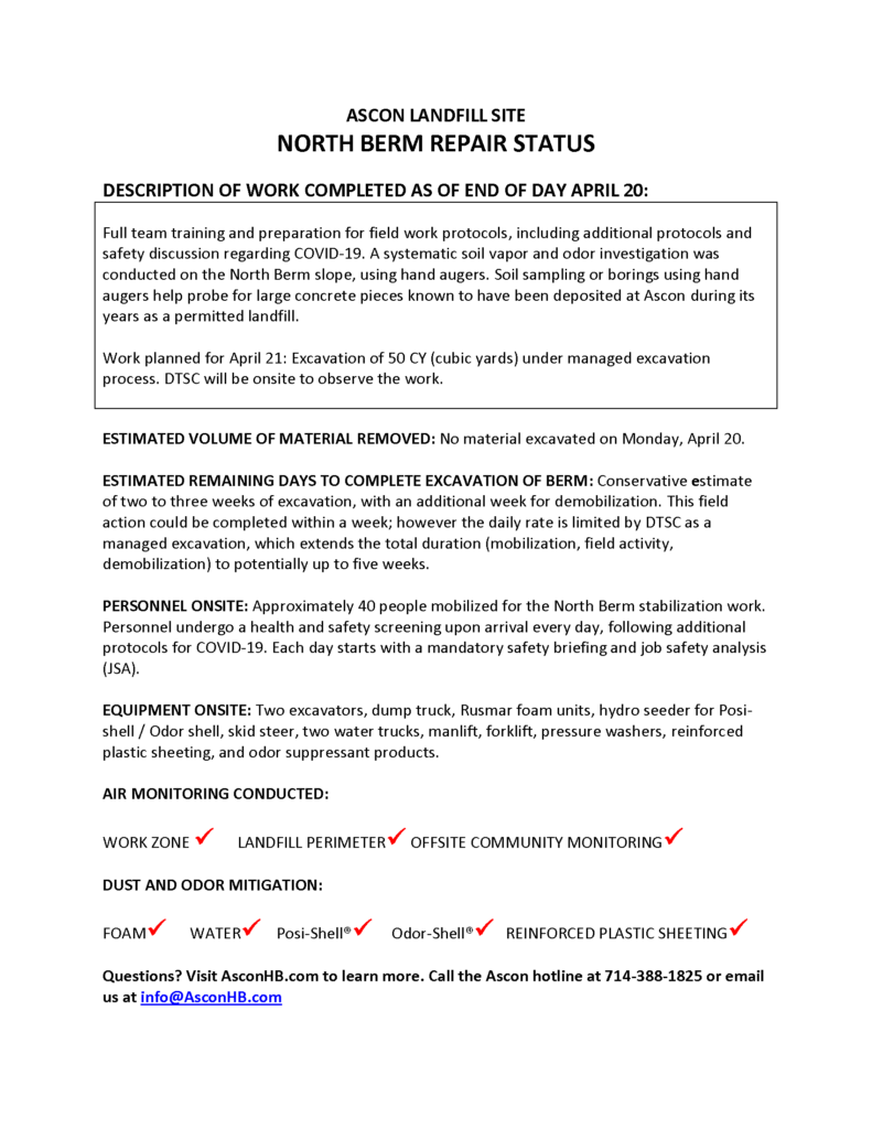 North Berm repair status update end of day April 20